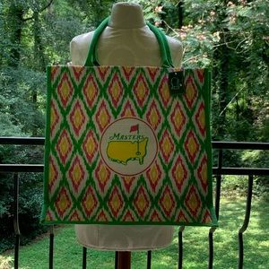 Augusta National XL tote in pink and green.
